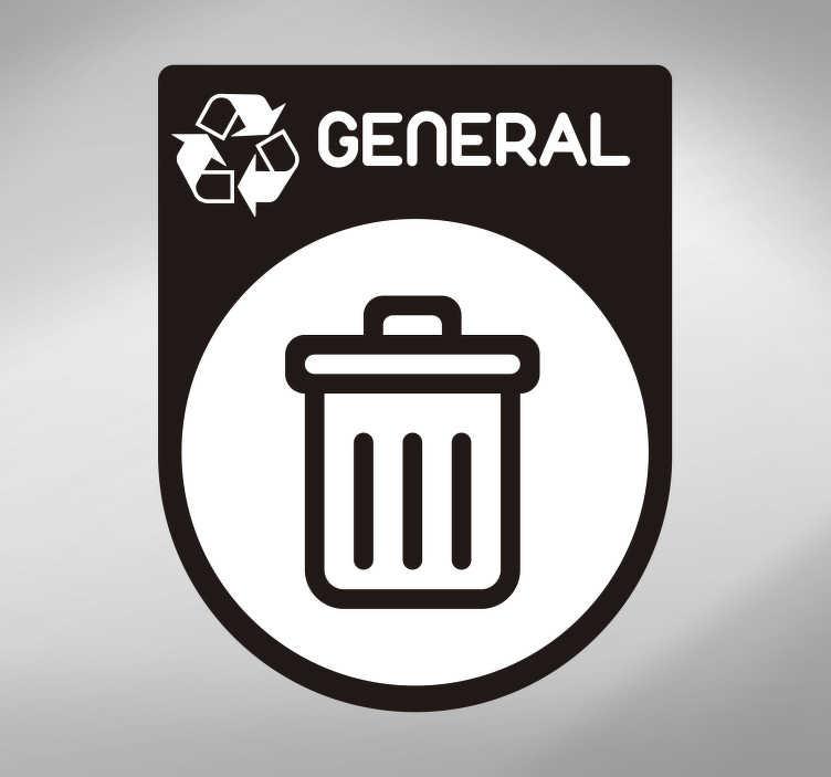 TenVinilo. Vinilo dibujo reciclaje basura general. Pegatina adhesiva formada por el icono de la basura general ideal para clasificar los contenedores de tu hogar. Fácil aplicación y sin burbujas.