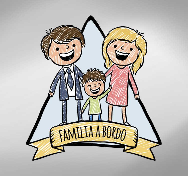 TenVinilo. Pegatina familia a bordo sketch. Original pegatina de familia a bordo para vehículo formada por la ilustración de un padre, una madre y un niño. Atención al Cliente Personalizada.