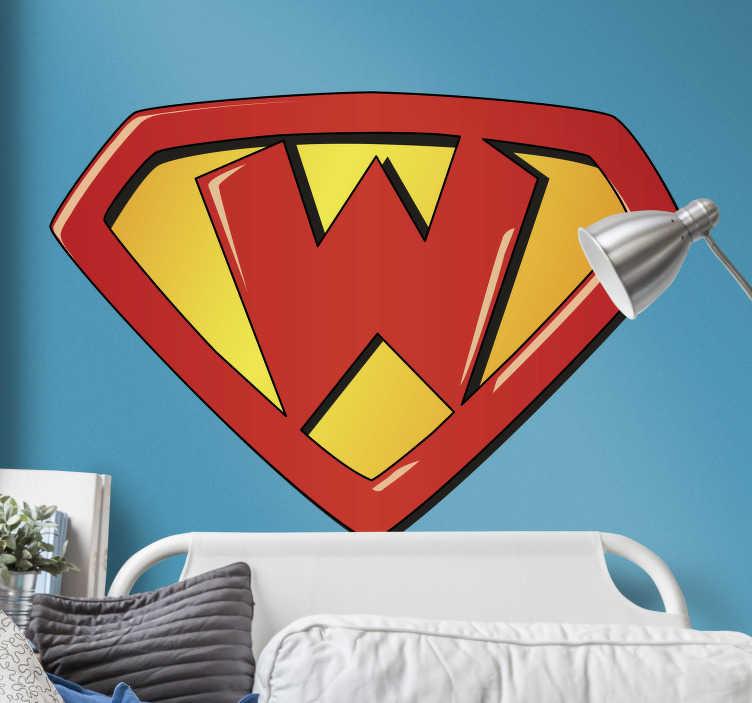 TenStickers. Autocolantes  de super-heróis super w. Autocolantes decorativos de super-heróis ideais para decorar os quartos dos mais pequeninos de lá de casa. Medidas personalizáveis.