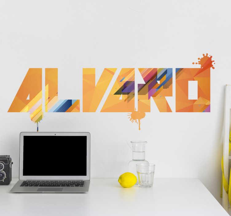 TenStickers. Moderne tekst sticker personaliseerbaar. Deze moderne, kleurrijke muursticker kan aangepast worden met elke gewenste tekst en zal elke ruimte opfleuren. +10.000 tevreden klanten.