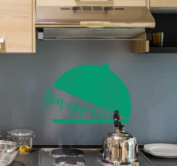 """TenStickers. Sticker Maison Texte Bon Appétit. Sticker texte pour la cuisine, """"bon appétit"""" ! Un sticker mural cuisine original et idéal pour apporter à votre cuisine une touche de couleur unique !"""