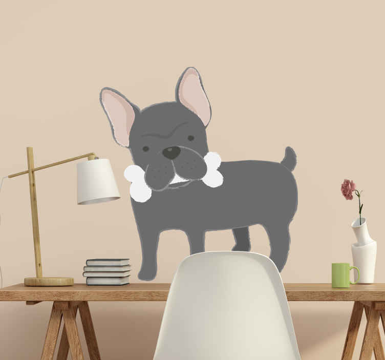 TenVinilo. Vinilo pared bulldog francés. Pegatina para habitación infantil o juvenil formada por la ilustración de un gracioso Bulldog Francés. Descuentos para nuevos usuarios.