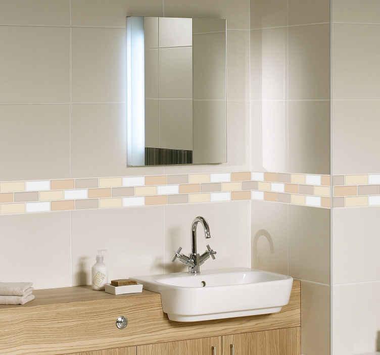 TenVinilo. Cenefa adhesiva Azulejo de baño beige. Fantástica cenefa de azulejos autoadhesiva formada por un serie de rectángulos en diferentes tonos de beige. Envío Express en 24/48h.