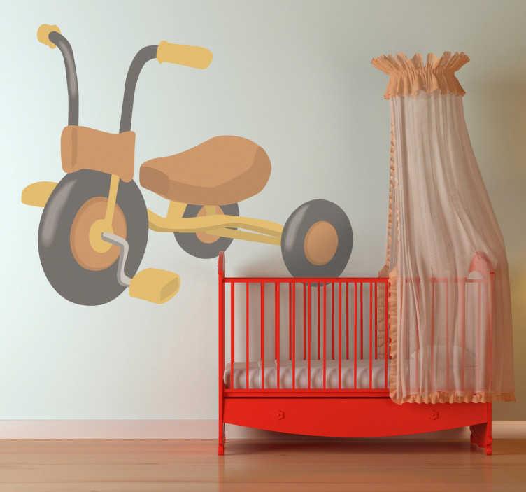 TenStickers. Sticker kind driewieler. Deze sticker omtrent een leuk en vrolijk ontwerp van een driewieler, een kind zijn beste vriend. Ideaal ter muurdecoratie van de kamer van uw kind.