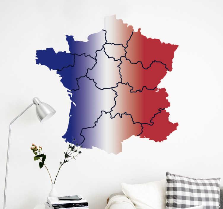 TenStickers. Stickers Monde Carte des Provinces de France. Décorez votre maison de manière originale avec une carte de france accompagné de son drapeau en sticker mural chambre enfant. Livraison Rapide.