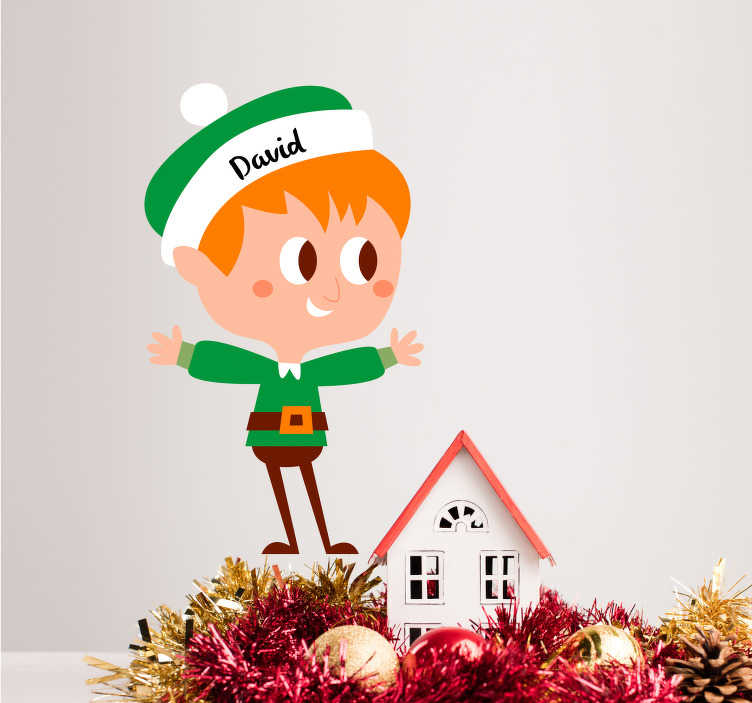 TenStickers. Sticker Noel Dessin Elfe Personnalisé. Sticker événement pour les fêtes de fin d'année. Décorez la chambre de votre enfant avec cet adorable dessin personnalisé de petit elfe !