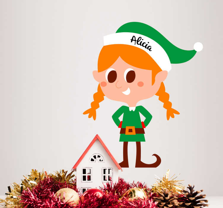 TenStickers. Female Elf Customisable Christmas Sticker. Add a customisable elf to your home with this magnificent children´s bedroom Christmas wall sticker! Discounts available.
