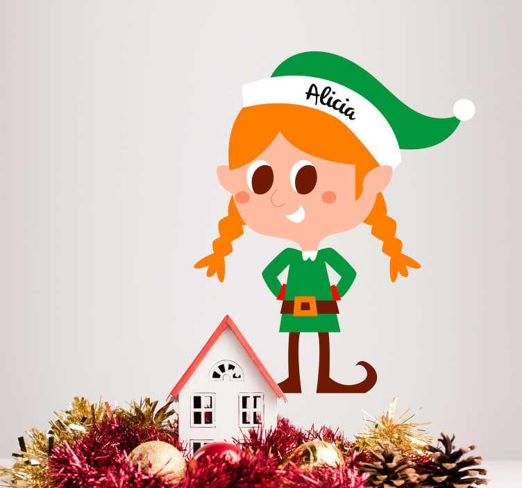TenStickers. Feminin elf personalizabil crăciun autocolant. Adăugați un elf personalizabil la domiciliu cu această magnifică copie pentru copii dormitor de crăciun sticker! Reduceri disponibile.