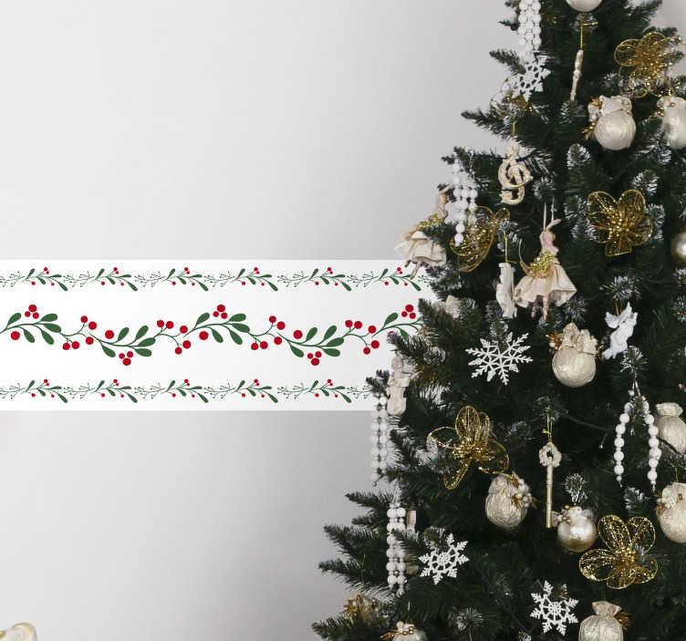 TenVinilo. Cenefa adhesiva guirnalda abeto. Cenefa adhesiva con temática navideña formada por tres tiras de acebo sobre un fondo blanco. +10.000 Opiniones satisfactorias.