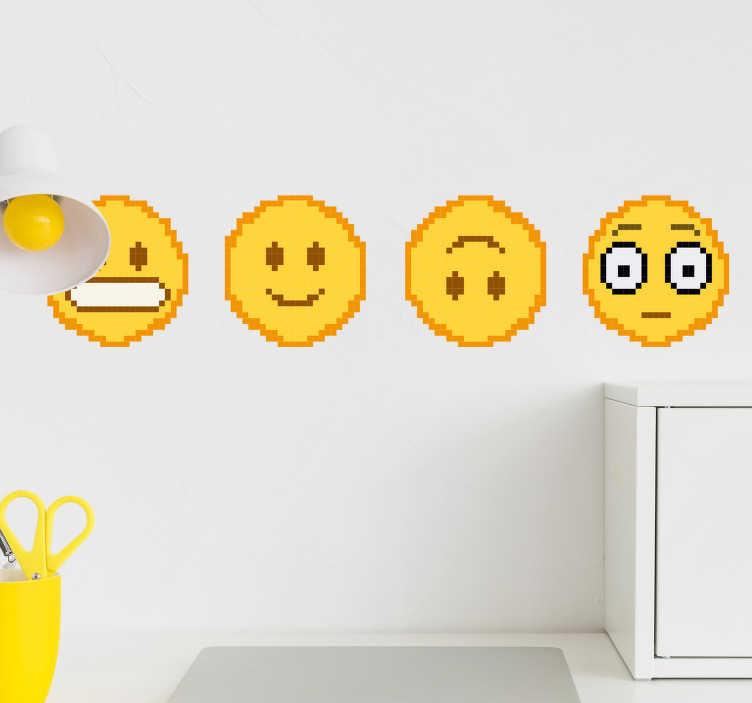 TenStickers. Naklejka na ścianę do domu emotikony uśmiechy. Naklejki na ścianę do domu przedstawiają żółte emotikony, 2 uśmiechnięte oraz 2 zmieszane twarze, oryginalna dekoracja do wnętrza!