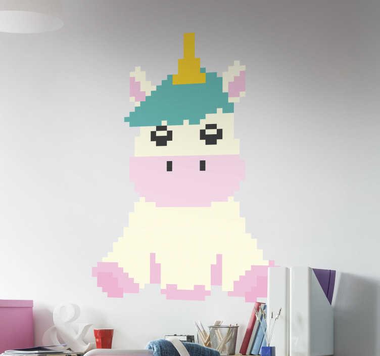 TenStickers. Autocolantes para quarto infantil unicornio pixel. Autocolante decorativo para dar um toque mais moderno e personalizado à sua vida e pertences.  Vinis resistentes e duradouros.