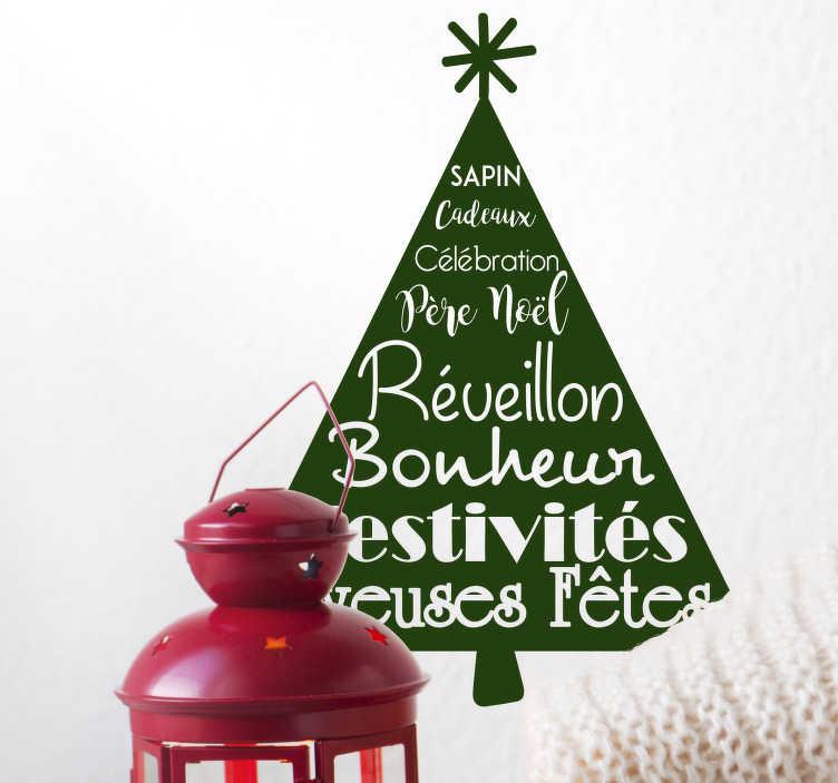 TenStickers. Sticker Entrée Arbre de Noël Bonheur. Découvrez comment décorer votre salon ou couloir avec un arbre sticker Noël pour passer les fêtes paisiblement. Application Facile.