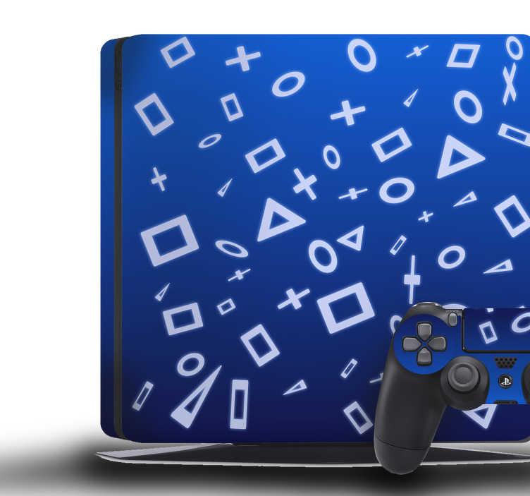 TenVinilo. Vinilo PS4 símbolos controladores. Vinilo para PS4 y controladores formado por un serie de símbolos típicos del dispositivo sobre un fondo azul marino. Descuentos para nuevos usuarios.