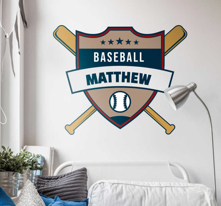 TenStickers. Baseball Customisable Wall Sticker. Add a personalised touch to your bedroom with this fantastic baseball themed customisable wall sticker! Sign up for 10% off.