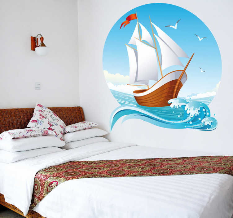 TenStickers. Schiff Wandtattoo Segelboot. Kreisförmiges Meer Wandtattoo für Ihr Zuhause mit Segelboot, Möwen, blauen Himmel und Welle / Meer. Maritim