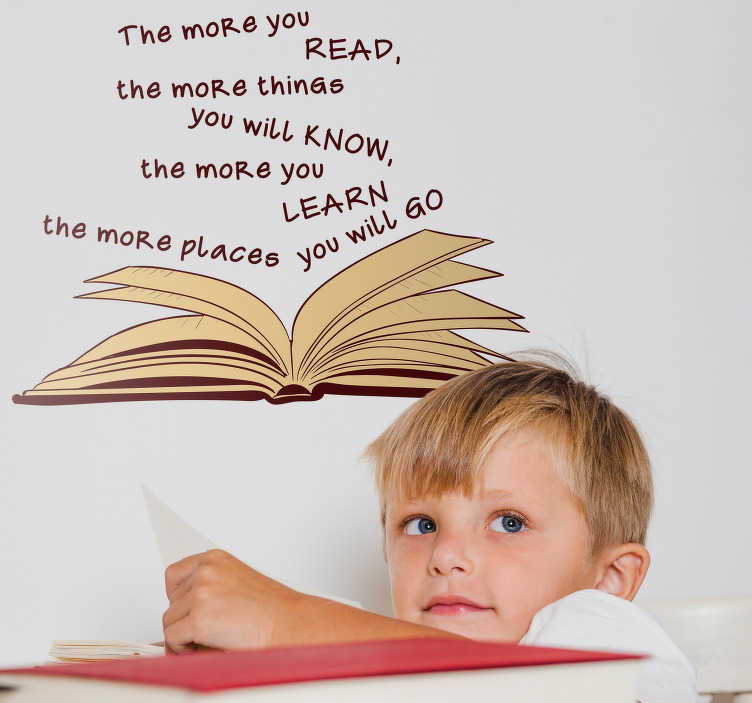 TenStickers. Dr Seuss Reading Quote Sticker. Add a Dr Seuss quote to your wall with this fantastically inspiring and motivational wall text sticker! Zero residue upon removal.