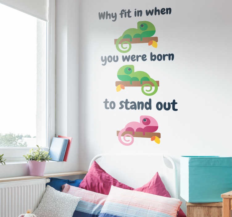 TenStickers. Dr Seuss Fit In Quote Wall Sticker. Encourage yourself to be different with this wall text sticker, showing an inspiring Dr Seuss quote! Sign up for 10% off.