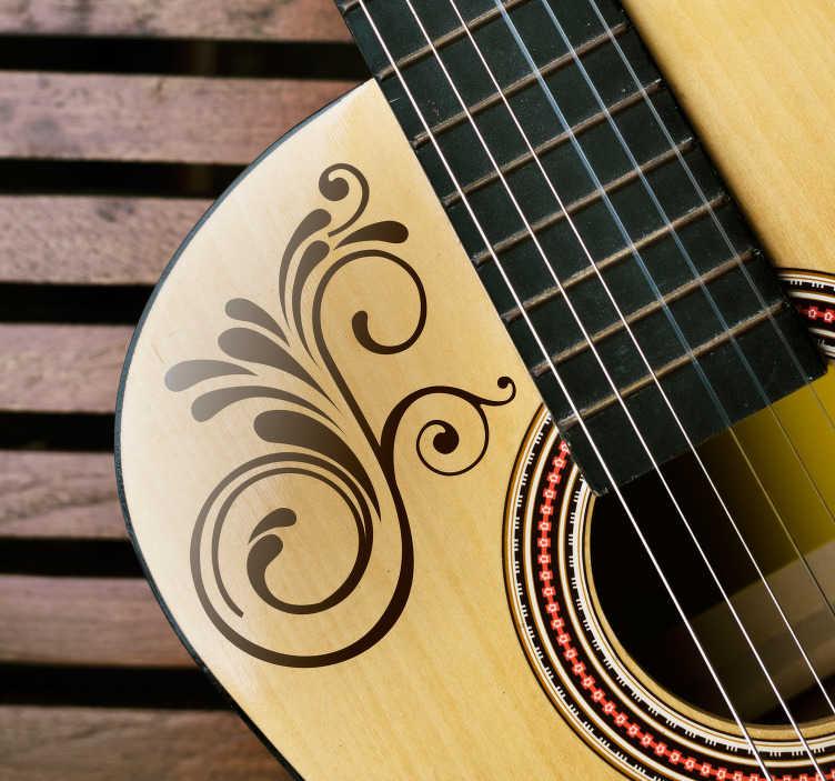 TenStickers. Ornament muursticker bloemdetail. Versier de muren in uw woning of uw muziekinstrumenten met deze fantastische bloemen sticker. Afmetingen aanpasbaar. Eenvoudig aan te brengen.