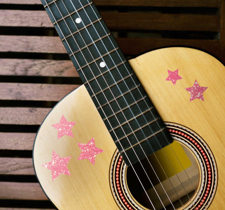 TenStickers. Stars Guitar Decorative Sticker. Add a little bit of an extra shine to your guitar with this fantastic set of star themed decorative decals! Anti-bubble vinyl.