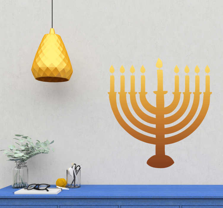 TenStickers. Hanukkah Candles Wall Sticker. Celebrate Hanukkah in the grand manner this year with this fantastic candle themed wall sticker! Extremely long-lasting material.