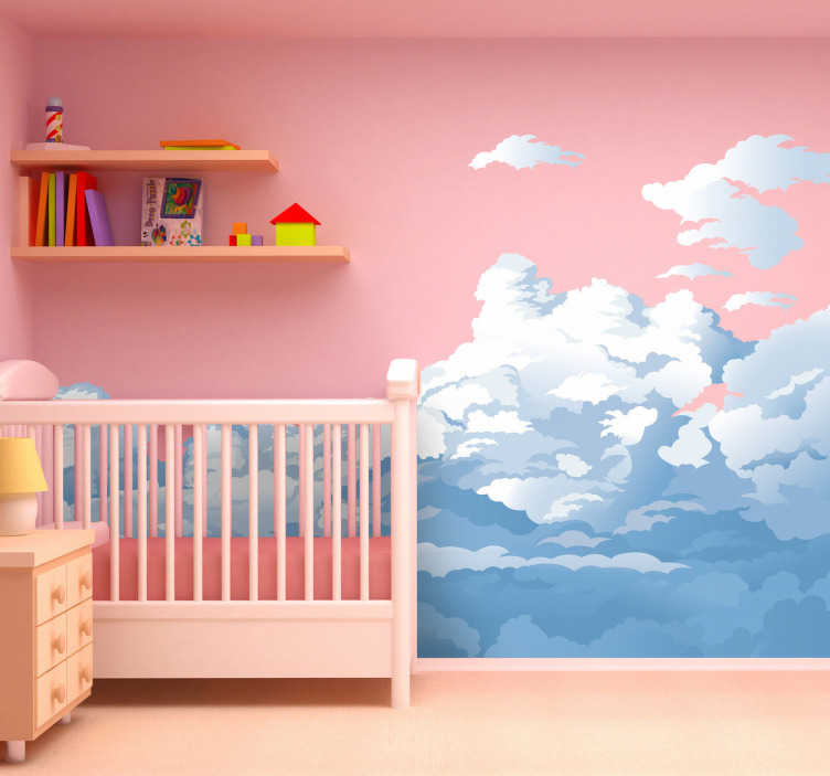 TenStickers. Cloudy Sky Wall Sticker. A brilliant design from our collection of cloud wall stickers illustrating a cloudy sky ideal to decorate the bedroom of the little ones.
