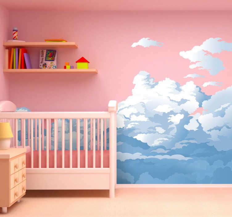 TenStickers. Sticker kinderkamer hemel en wolken. Een prachtige muursticker met de afbeelding van de lucht gevuld met witte wolken en regenwolken. Afmetingen aanpasbaar. Dagelijkse kortingen.