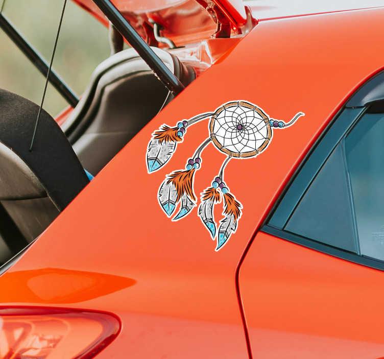 TenVinilo. Pegatina pequeña atrapasueños para coche. Original y colorida pegatina adhesiva para coche con el dibujo de un atrapasueños en tonos naranjas y azules. Precios imbatibles.