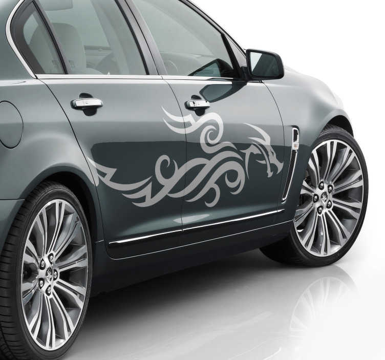 TenStickers. tribal dragon Car Decal. Decorative tribal dragon Car vinyl  Sticker.  It is an abstract silhouette design that can be used on all flat surface of choice . Easy to apply.