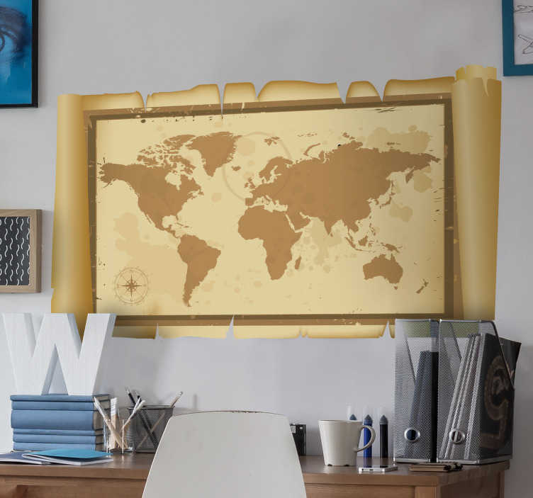 Tenstickers. Pergament världskarta klistermärke. Väggklistermärken - illustration av kartvärlden. Perfekt för att dekorera sovrum och områden för barn.