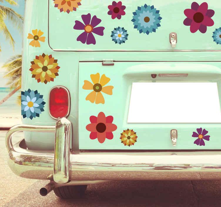 TenVinilo. Vinilo vehículo flores multicolor. Originales y coloridas pegatinas con el diseño de unas flores en diferentes colores y tamaños. Atención al Cliente Personalizada.