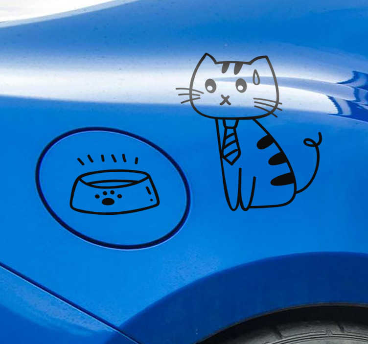 TenVinilo. Vinilo animal gato gasolina. Original y curioso vinilo adhesivo formado por la ilustración de un gato hambriento y un cuenco de comida vacío. Promociones Exclusivas vía e-mail.