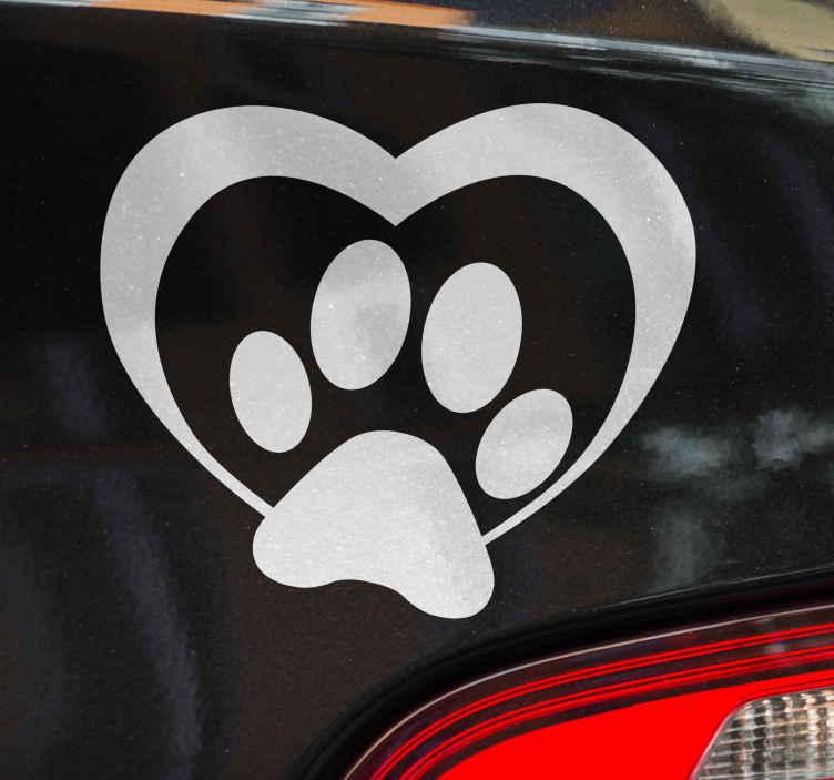 TenStickers. Naklejka na samochód psia łapka. Naklejka dla wszystkich, którzy uwielbiają psy! Przedstawia ona psią łapkę wraz z serduszkiem! Codziennie nowe projekty!