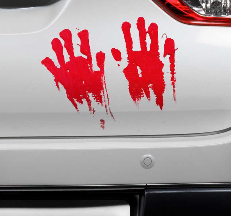 TenStickers. Auto sticker bebloede handen. Creëer een griezelige look met deze voertuig sticker die een paar bebloede handen afbeeldt. Afmetingen aanpasbaar. Voordelig personaliseren.
