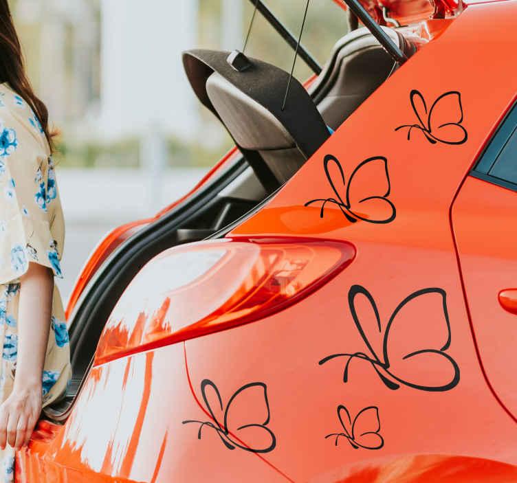 TenVinilo. Vinilo vehículo mariposas simples. Original pegatina adhesiva formada por un patrón de cinco mariposas de estilo minimalista en diferentes tamaños. Promociones Exclusivas vía e-mail.