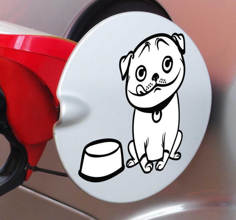TenVinilo. Vinilo animal perro gasolina. Original vinilo adhesivo para el depósito de tu vehículo con la ilustración de un perro hambriento acompañado de un cuenco de comida vacío.