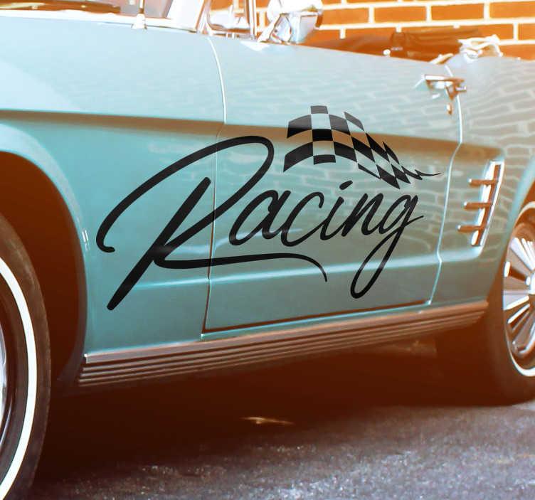 """TenStickers. Autocolant de decorare autoturisme. Adăugați o picătură de decor suplimentar la mașina dvs. Cu acest decalaj superb al vehiculului, care descrie cuvântul """"racing """"! Pături personalizate."""