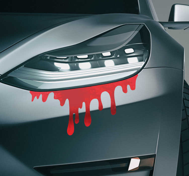 TenStickers. Naklejka na samochód płynąca krew. Naklejka na samochód, która daje efekt płynącej z Twoich świateł krwi. Zabawna i delikatna dekoracja do Twojego auta! Spersonalizuj swoją naklejkę!