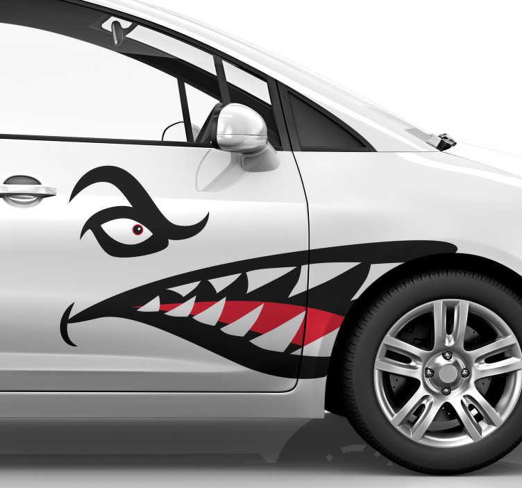 TenStickers. Autocolante para veículos dentes de tubarão. Autocolantes decorativos para camiões e carrinhas. Destaque-se de todos os outros carros no trânsito com este espetacular vinil.