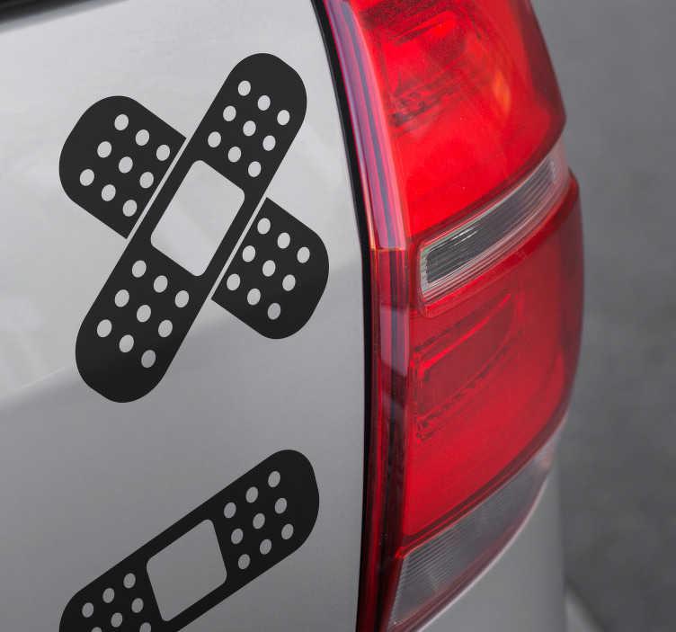TenStickers. Naklejka na samochód plastry. Naklejka na samochód, przedstawiająca plastry, które sprawią wrażenie, jakby Twój samochód był ranny! Ceny już od 8,75 zł!