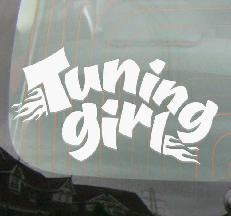 """TenVinilo. Vinilo motor tuning girl. Original pegatina adhesiva para vehículo formada por el texto """"Tuning Girl"""" acompañado de unas llamas de fuego. Precios imbatibles."""