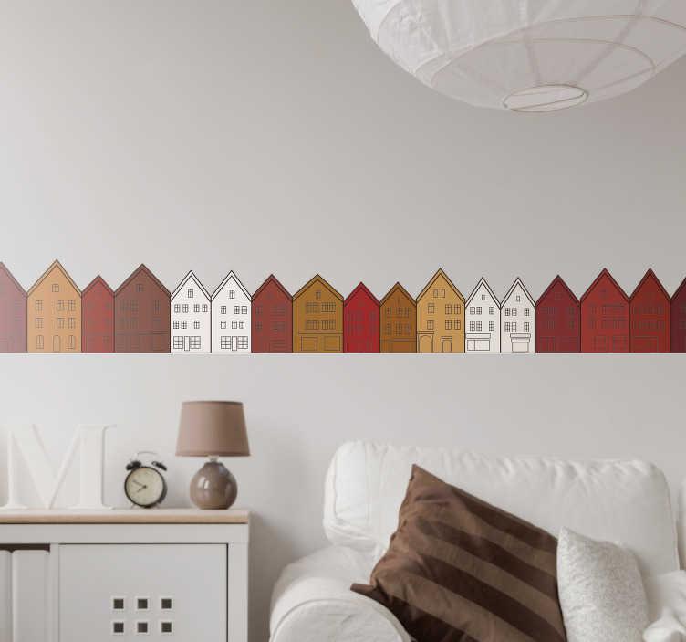 Tenstickers. Bryggen i bergen veggen klistremerke. Dekorere ethvert rom i hjemmet med denne veggmatten som illustrerer bryggen i bergen - en av de vakreste arkitekturene i norge!