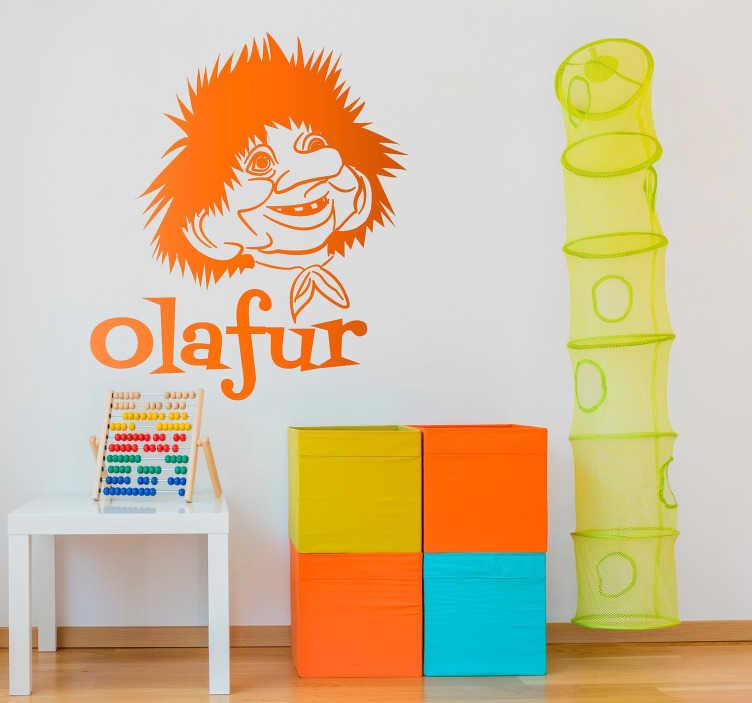 Tenstickers. Personlig troll barn vegg klistremerke. Hvis du ønsker å dekorere barnas soverom på en unik måte, så er dette klistremerket som illustrerer en troll med personlig tekst, perfekt for deg!