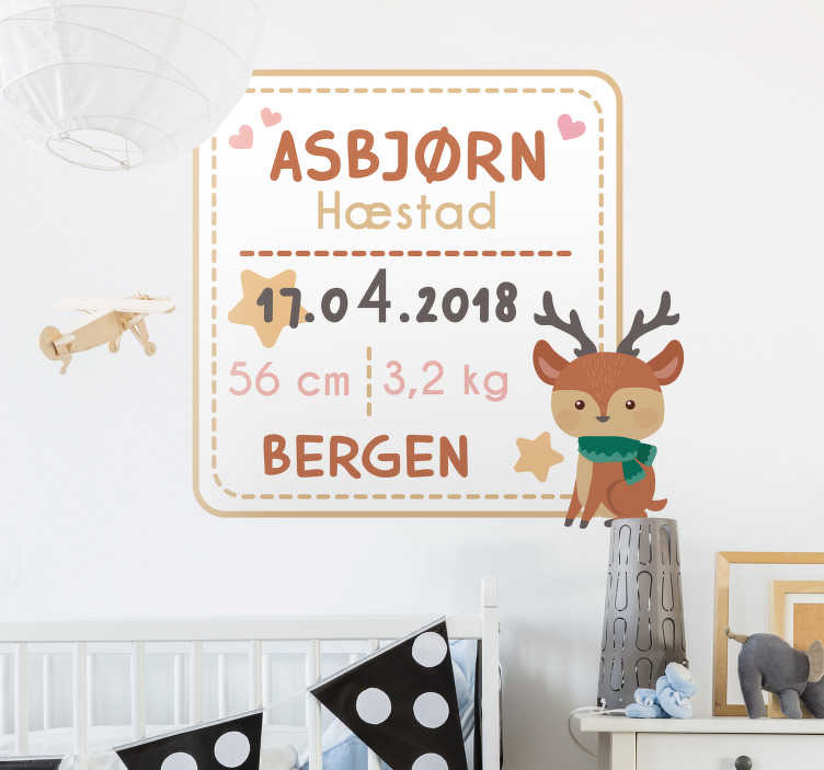 Tenstickers. Baby fødselsattest vegg klistremerker for barn. Personliggjøre denne vegg klistremerket med all informasjon om fødselen til barnet ditt og dekorere baby rom! Tilgjengelig i forskjellige størrelser.