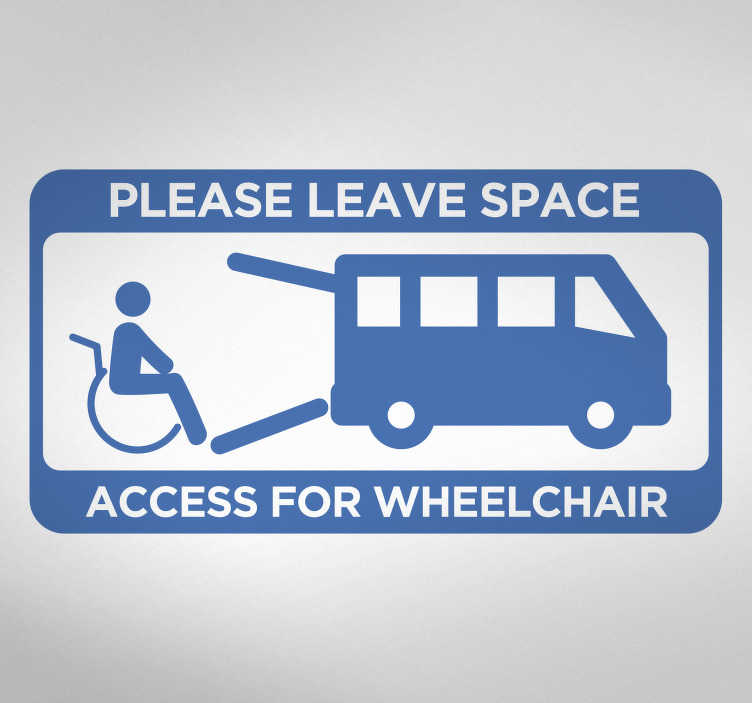 TenStickers. Wheelchair Access Vehicle Sticker. Add this extremely useful vehicle decal to your car in order to inform others of a wheelchair user! Available in 50 colours.