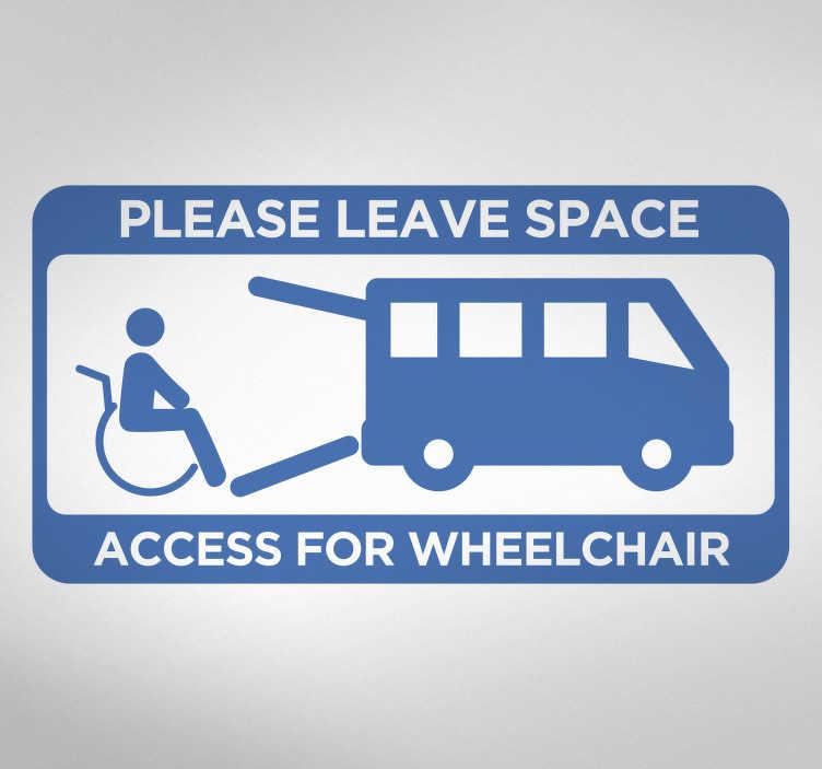 TenStickers. Voertuig sticker toegang voor rolstoelen. Een uitstekend bruikbare voertuig sticker voor diegenen die vaak reizen met een rolstoelgebruiker en hier ruimte voor nodig hebben.