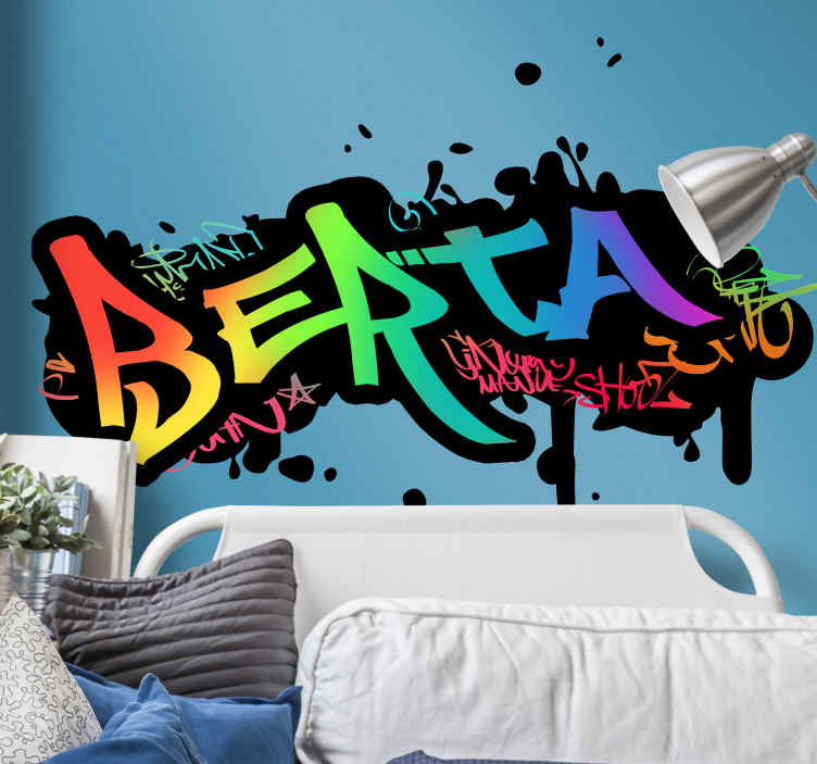 TenStickers. Graffiti Name Customisable Sticker. Personalise your wall with this fantastically colourful, flashy. graffiti themed wall art customisable sticker! Anti-bubble vinyl.