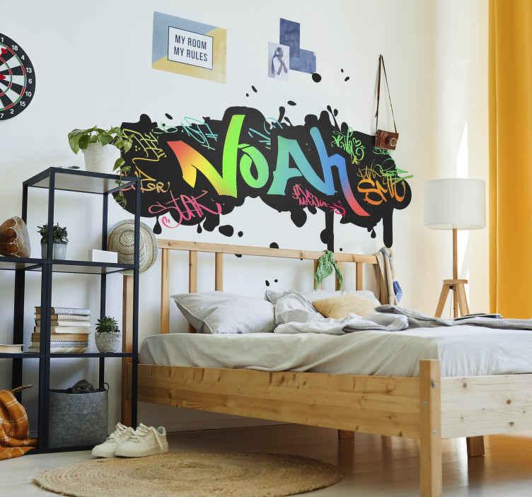 TenVinilo. Vinilo original nombre grafitti personalizable. Colorida pegatina adhesiva formada un grafitti, el cual se puede personalizar con el nombre que nos indiques. +10.000 Opiniones satisfactorias.