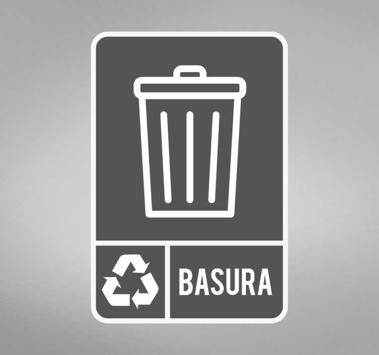 TenVinilo. Señalética adhesiva reciclaje basura general. Original pegatina adhesiva para fomentar el reciclaje con el icono de la basura general. Promociones Exclusivas vía e-mail.