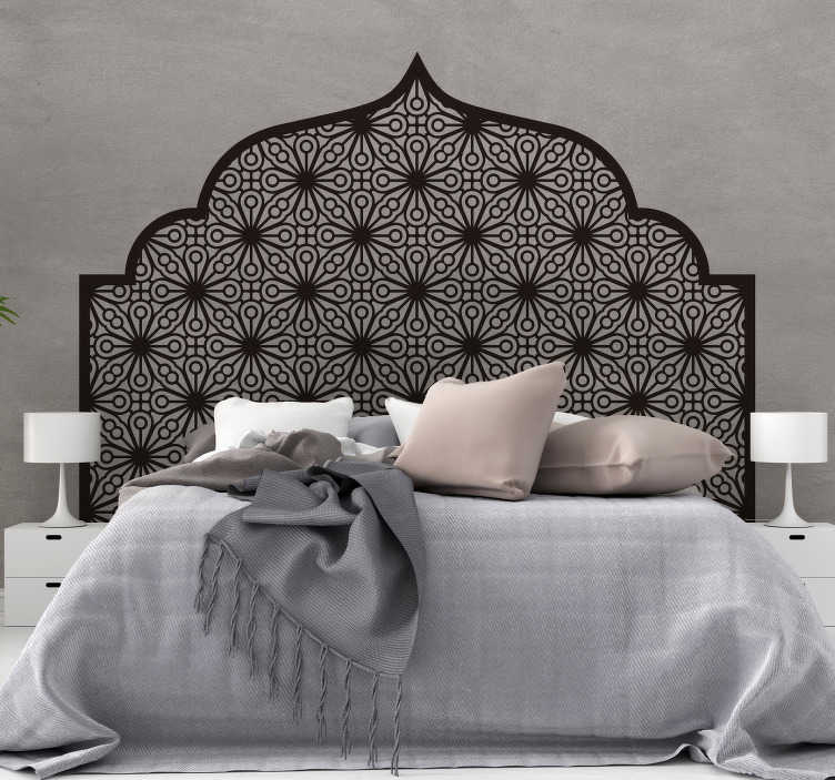 TenStickers. Monochrome Geometric Arabic headboard wall sticker. Arabic geometry headboard vinyl sticker for bedroom . Available in different colours and size options. Easy to apply and self adhesive.