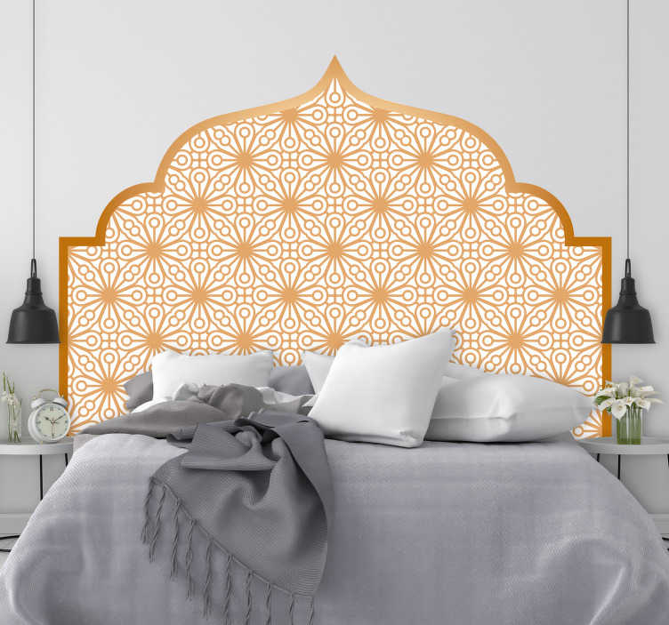 TenStickers. Arabic geometry headboard wall decal. Arabic geometry headboard sticker for bedroom decoration. Available in nay required size. Easy to apply and self adhesive.